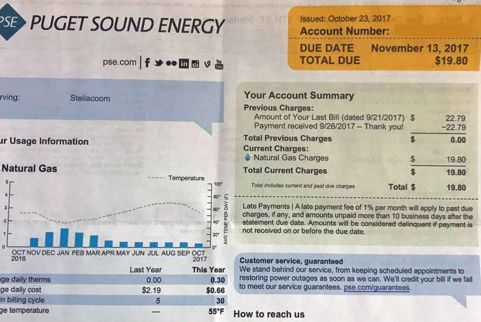 Passive House Natural Gas Bill